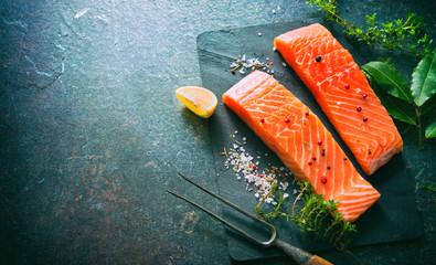 Fresh salmon fillet steaks