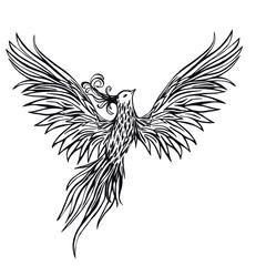 Tribal Phoenix ink pen illustration