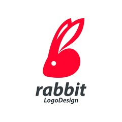 Red Rabbit Head Logo, Red Bunny Head Silhouette Design Logo Vector