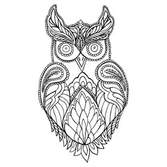 Owl coloring page for children and adults.