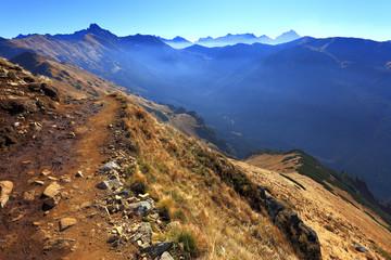 Poland, Tatra Mountains, Zakopane - Goryczkowa Czuba, Posredni Wierch Goryczkowy and Swinica peaks with High Tatra in background
