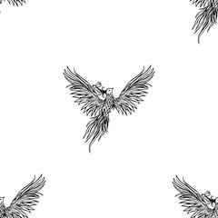 Tribal Phoenix vector illustration seamless pattern