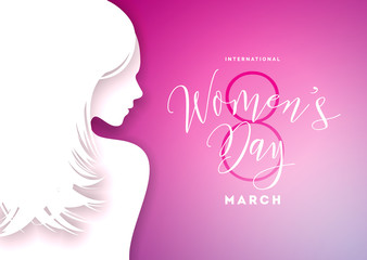 Happy Womens Day Greeting Card Design with Sexy Young Woman Silhouette. International Female Holiday Illustration with Typography Letter Design on Pink Background. Vector International 8 March