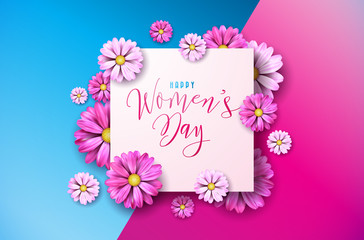 Happy Womens Day Floral Greeting Card Design. International Female Holiday Illustration with Flower and Typography Letter Design on Pink and Blue Background. Vector International 8 March Template.