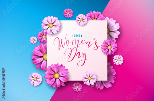 Happy womens day floral greeting card design international female happy womens day floral greeting card design international female holiday illustration with flower and typography m4hsunfo