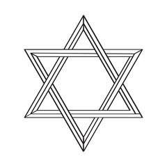 Isolated golden jewish star icon