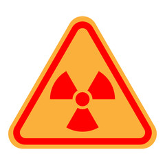 NUCLEAR POLLUTION sign. Yellow and red IONIZING RADIATION symbol in triangle. Vector icon.