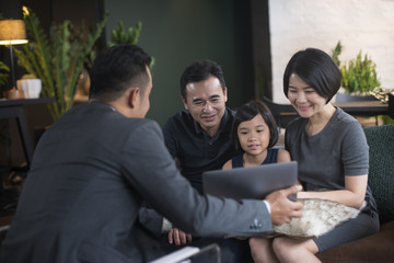 Financial advisor with clients.