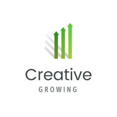 Market statistic report logo template. Creative growing symbol isolated. Modern business emblem vector illustration.
