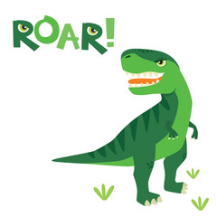 Cute Little Scary T Rex Dinosaur with Roar Lettering Isolated on White Vector Illustration