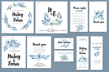 Card templates set with watercolor blue flowers and leaves background; artistic design for business, wedding, anniversary invitation, flyers, brochures, table number, RSVP, Thank you card