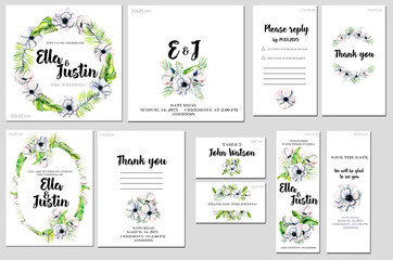 Card templates set with watercolor white anemones background; artistic design for business, wedding, anniversary invitation, flyers, brochures, table number, RSVP, Thank you card
