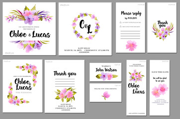 Card templates set with pink and purple watercolor wild roses background; artistic design for business, wedding, anniversary invitation, flyers, brochures, table number, RSVP, Thank you card