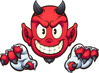 Cartoon devil with gloves. Vector clip art illustration with simple gradients. Some elements on separate layers.