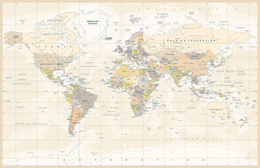 Political Colored Vintage World Map Vector