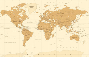 Political Vintage Golden World Map Vector