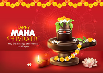 Greeting card with lingam and floral decoration for Maha Shivratri, a Hindu festival celebrated of Shiva Lord. Vector illustration.