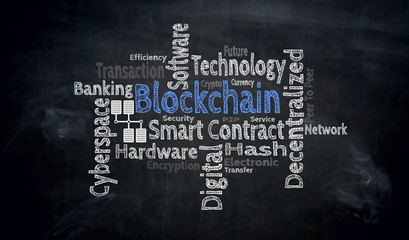 Blockchain wordcloud on blackboard concept