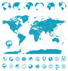 Political Vintage World Map Vector and Globes