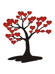Tree with Red hearts. Love