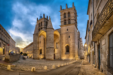 Gothic Cathedral of Saint Peter at dusk in Montpellier, Occitanie, France
