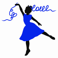 Silhouette of a beautiful dancing girl, love