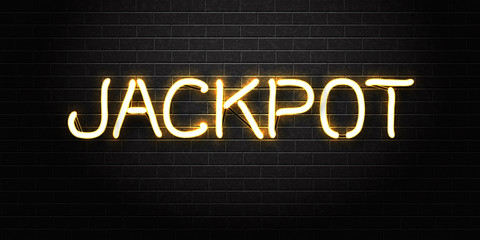 Vector realistic isolated neon sign of Jackpot lettering for decoration and covering on the wall background. Concept of casino winning, award ceremony and jackpot.