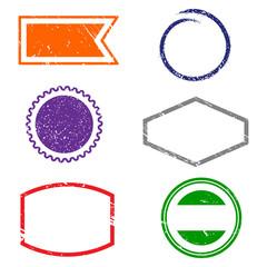 Stamps frames on white background.  Six stamps frames. Flat design. Vector illustration EPS10.
