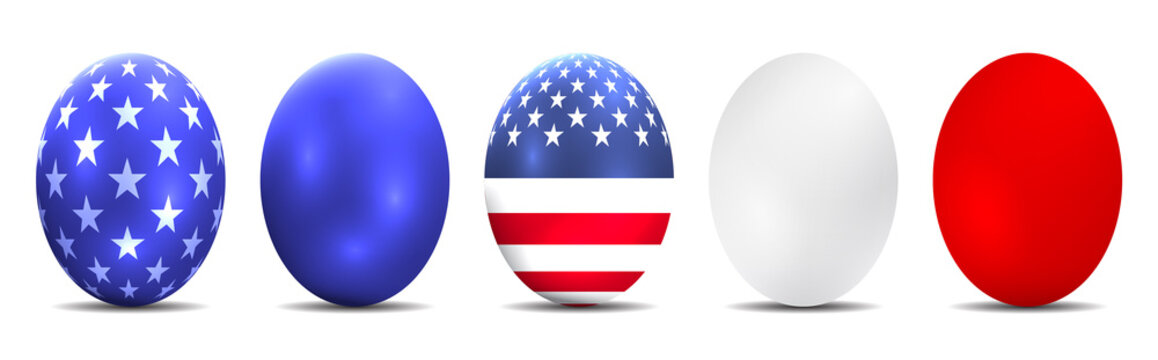 Luxury shiny colorful easter eggs with american flag. Ostereier, Eier, Ostern, nebeneinander, farbig, bunt, gefärbte.