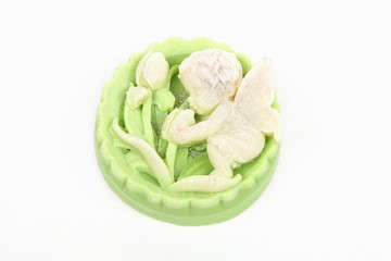 Handmade soap with the image of an angel isolated white background.