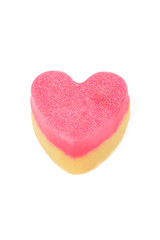 Handmade soap in the form of heart isolated white background.