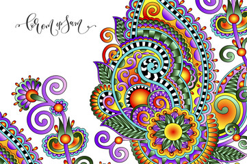 paisley flower pattern in ethnic style
