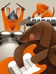 Dog band playing music