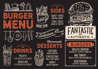 Burger restaurant menu. Vector food flyer for bar and cafe. Design template with vintage hand-drawn illustrations.