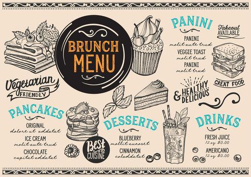 Brunch restaurant menu. Vector food flyer for bar and cafe. Design template with vintage hand-drawn illustrations.