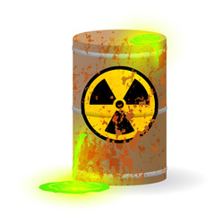 Chemical radioactive waste in a rusty barrel. Toxic green fluorescent liquid in a keg. Environmental pollution danger of ecological disaster. Vector illustration.