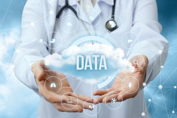 Medical worker shows the data cloud.