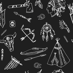 Hand drawn doodle native americans seamless pattern