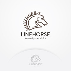Horse logo design. Vector horse logo template in trendy hipster linear style. Horse vector line, symbol, logo, emblem design. Vector logo template