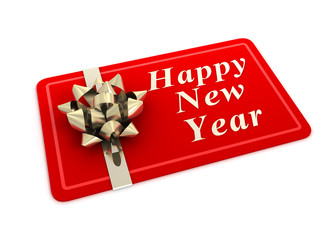 happy new year gift card concept  3d illustration