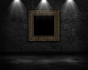 3D grunge room interior with vintage blank picture frame and spotlights shining down