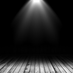 3D spotlight shining down into a grunge interior with wooden floor