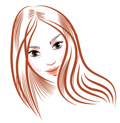 vector beauty face girl, hand drawn portrait beautiful girl with long hair