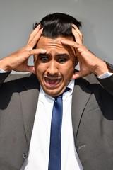 Stressful Hispanic Business Man