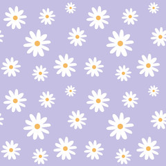 chamomile on a light purple pastel background pattern seamless vector