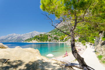 Beautiful beach in Brela in Makarska Riviera, Dalmatia, Croatia