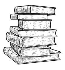 Stack of books illustration, drawing, engraving, ink, line art, vector