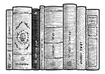 Books in a row illustration, drawing, engraving, ink, line art, vector
