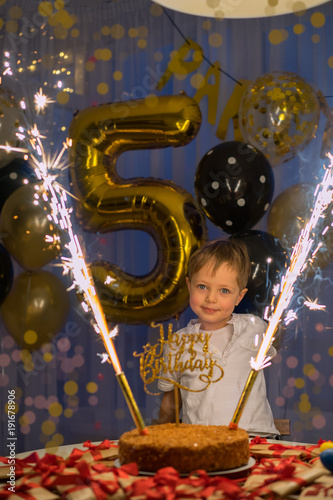 5 Year Old Boy With Birthday Cake