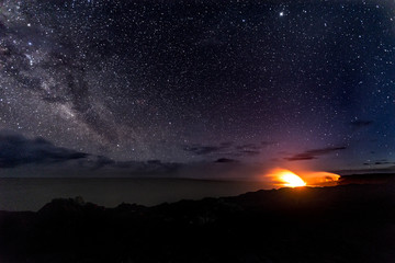 Lava Entering Ocean Under Milky Way